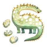 Dinosauro puerile dell'acquerello con le uova Fotografia Stock Libera da Diritti