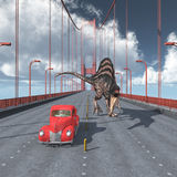 Dinosauro su golden gate bridge a San Francisco Fotografie Stock Libere da Diritti