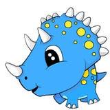 Dinosauro sveglio del triceratopo del bambino blu del fumetto Fotografia Stock