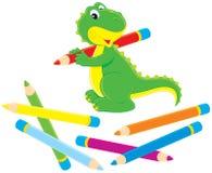 Dinosauro verde con le matite di colore Fotografia Stock Libera da Diritti