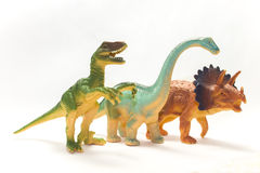 Dinosaurs. Toy dinosaurs in an assortment on white background Royalty Free Stock Photo