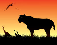 Dinosaurs background with smilodon cat. Vector illustration of smilodon cat and dinosaurs Royalty Free Stock Photography
