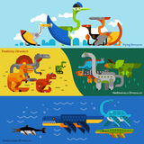 Dinosaurs Banners Set Royalty Free Stock Images