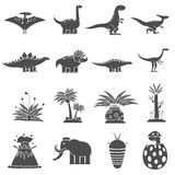 Dinosaurs Black Set. Dinosaurs and prehistoric nature black icons set isolated vector illustration Stock Photo