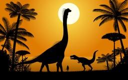 Dinosaurs - Brachiosaurus and Tyrannosaurus. stock illustration