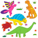 Dinosaurs cartoon coloring colorful. Multi character set Royalty Free Stock Images
