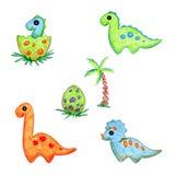 Dinosaurs cartoon hand drawing set stock illustration