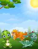 Dinosaurs cartoon in the jungle Stock Photos