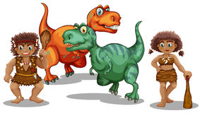 Dinosaurs and cave people Royalty Free Stock Photography