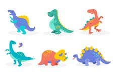 Dinosaurs collection, cute illustrations of prehistoric animals. Dinosaurs collection, different types of prehistoric animals, cute illustration for children stock illustration