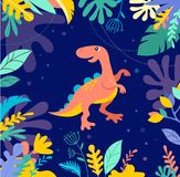 Dinosaurs collection, cute illustrations of prehistoric animals Royalty Free Stock Images