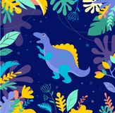 Dinosaurs collection, cute illustrations of prehistoric animals Royalty Free Stock Image
