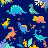 Dinosaurs collection, cute illustrations of prehistoric animals Royalty Free Stock Photos