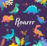 Dinosaurs collection, cute illustrations of prehistoric animals Stock Images