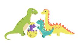 Dinosaurs Collection and Egg Vector Illustration. Dinosaurs collection and egg with new generation of dinosaur offspring of spiked creatures characters vector Royalty Free Stock Image