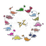 Dinosaurs collection, sketch for your design Royalty Free Stock Photo