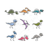 Dinosaurs collection, sketch for your design Royalty Free Stock Photos