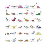 Dinosaurs collection, sketch for your design Royalty Free Stock Images