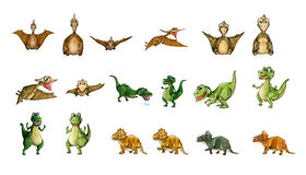 Dinosaurs Collection - T-Rex, Pterodactyl, Tricera Stock Photography