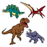 Dinosaurs Colored Icons Set Stock Photos
