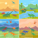 Dinosaurs 2x2 Design Concept. Set of cartoon compositions of jurassic triassic cretaceous and mesozoic periods flat vector illustration Royalty Free Stock Image