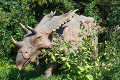 Dinosaurs of different kinds. TORONTO - AUGUST 17: The Exhibition of Dinosaurs at Canadas Wonderland which is a 330-acre  theme park. It is the first major Stock Photo