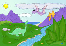 Dinosaurs diplodocus and pterodactyl on a background of  prehist Stock Images
