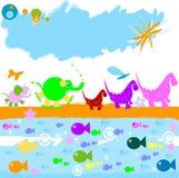 Dinosaurs et tout autre petit ani Illustration de Vecteur