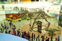 Dinosaurs Exhibition. KUALA LUMPUR, MALAYSIA-MAY 12: Visitors mostly school children at the Dinosaurs Live! exhibition at the National Science Centre on May 12 royalty free stock images