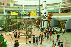 Dinosaurs Exhibition. KUALA LUMPUR, MALAYSIA-MAY 12: Visitors mostly school children at the Dinosaurs Live! exhibition at the National Science Centre on May 12 royalty free stock photography
