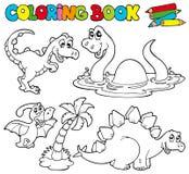 dinosaurs för 1 bokfärgläggning royaltyfri illustrationer