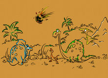 Dinosaurs fall meteorite Royalty Free Stock Photography