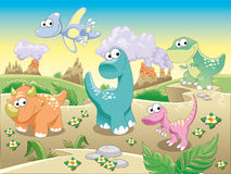 Dinosaurs Family with background. Funny cartoon and illustration