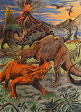 Dinosaurs fighting. Artistic drawing of dinosaurs fighting on prehistoric landscape Royalty Free Stock Images