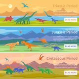 Dinosaurs Flat Horizontal Banners Royalty Free Stock Images