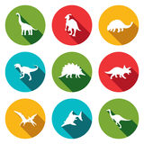 Dinosaurs flat icons set Stock Images