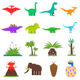 Dinosaurs Flat Set Royalty Free Stock Photography