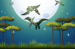 Dinosaurs flying on fullmoon night Royalty Free Stock Photography