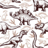 Dinosaurs footprints seamless pattern two-color Stock Images