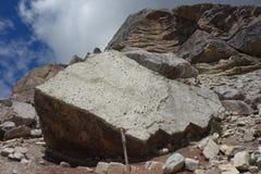 Dinosaurs footstep on rock on Pelmo Peak Stock Photos