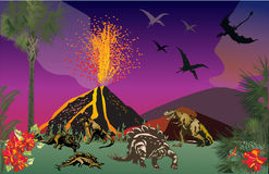 Dinosaurs in forest near volcano Royalty Free Stock Image