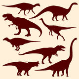 Dinosaurs, fossil reptiles vector silhouettes Royalty Free Stock Photography