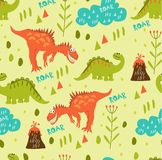 Dinosaurs friends in the clearing. A pattern of dinosaurs in a clearing and volcanoes. For registration of children`s clothing, fa. Seamless dinosaur pattern vector illustration