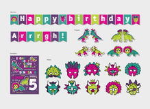 Dinosaurs girl party birthday decor set Stock Image