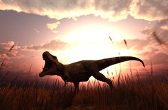 Dinosaurs in grass field. 3d rendering of a Dinosaurs in grass field royalty free illustration
