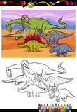 Dinosaurs group cartoon coloring book Stock Photos