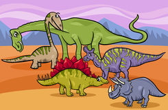 Dinosaurs group cartoon illustration Royalty Free Stock Image