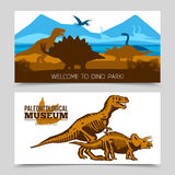 Dinosaurs Horizontal Banners. Flat horizontal banners of dino park and paleontological museum with dinosaurs and its skeletons silhouettes vector illustration Stock Images
