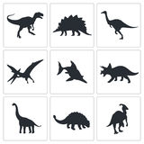 Dinosaurs icons collection Royalty Free Stock Photos