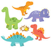 Dinosaurs. Illustration of dinosaurs including Stegosaurus, Brontosaurus, Velociraptor, Triceratops, Tyrannosaurus rex, Spinosaurus Royalty Free Stock Photos